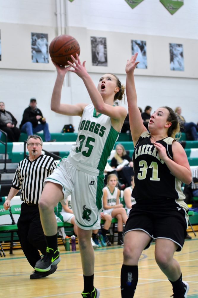 Erika Jorgenson goes in for the lay-up on a fast break