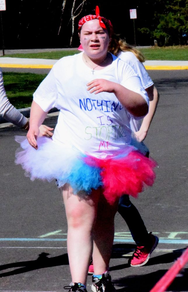 Nothing could stop this girl from finishing Thursday's 3-kilometer race at James Williams Middle School.
