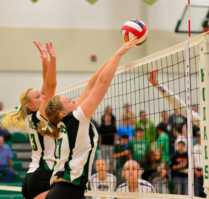 Molly Wagler and Hope Wissbroecker go up for the block.