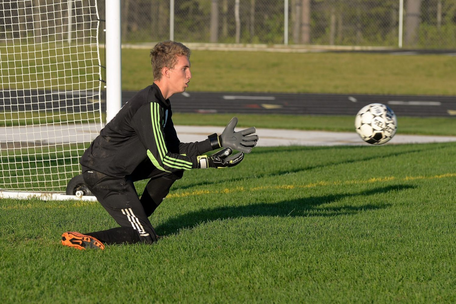 The Hodags' Josh Randolph makes a save in goal.