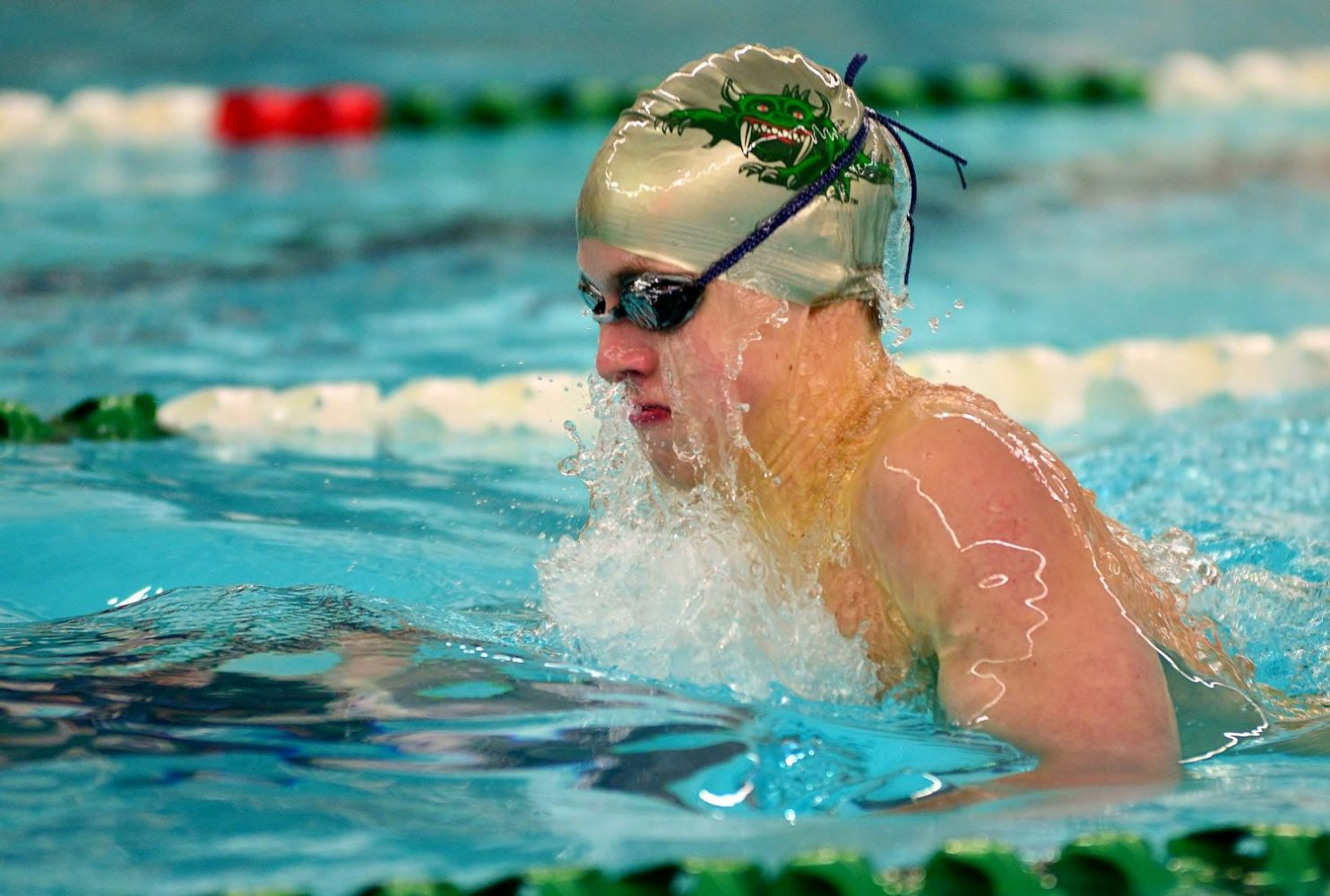 The Hodags' Nolan Francis swims the breaststroke in Monday's home dual meet against Shawano.