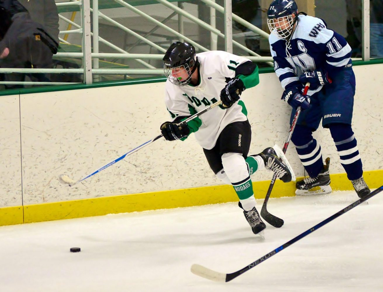 At left, the Hodags' Matthias Schneider advances the puck Jan. 28 against Waupaca.