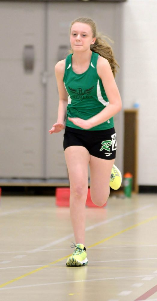 The Hodags' Abigail Gechas begins the 55-meter dash.