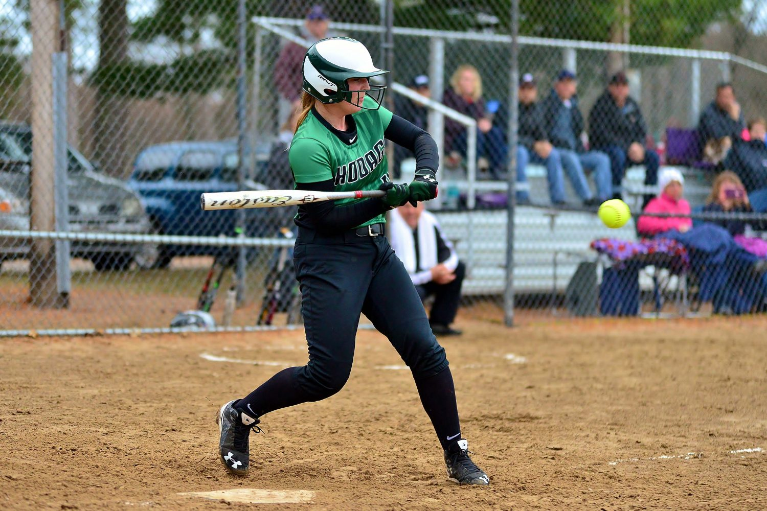 The Hodags' Lindsay Juedes keeps her eye on the ball.