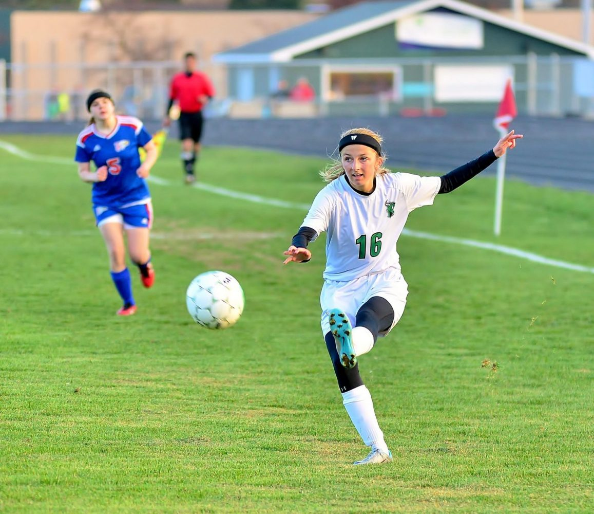The Hodags' Alayna Franson (16) advances the ball Tuesday against Northland Pines.