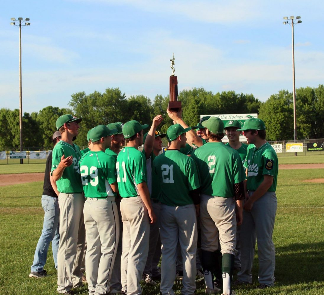 Rhinelander players hoist the Great Northern Legion Conference trophy they were given before Friday's game against Tomahawk. Last season the Rebels won the conference championship in its first year of existence. Players who earned all-conference honors were also presented their plaques.