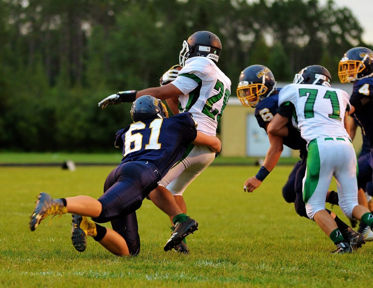 From left, Tomahawk's William Russell (61) pulls down the Hodags' Drake Martin (28).
