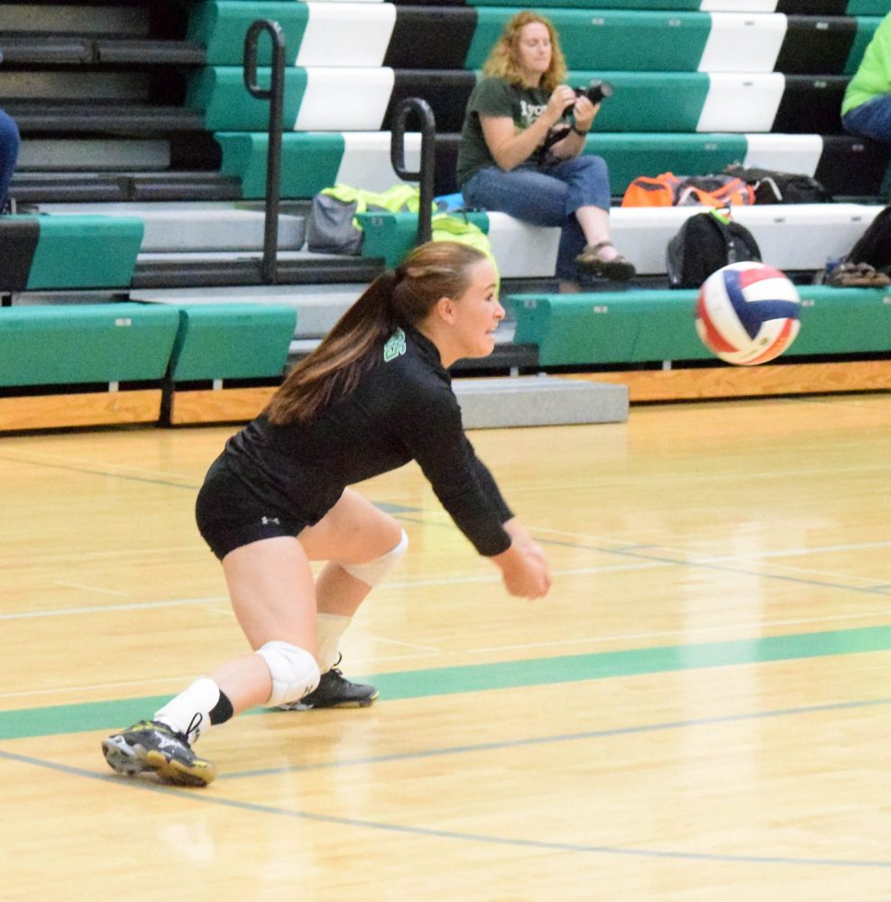 The Hodags' Stephanie Kuester digs out the ball in Tuesday's home match against Chequamegon.