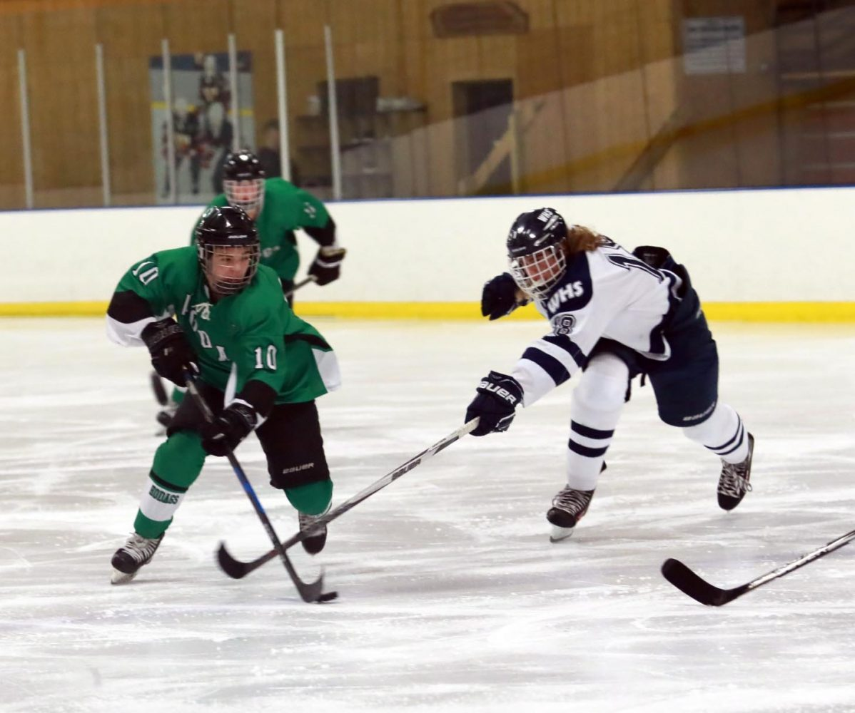 At left, the Hodags Abe Laggis (10) advances the puck across the blue line Saturday against the Waupaca Comets.
