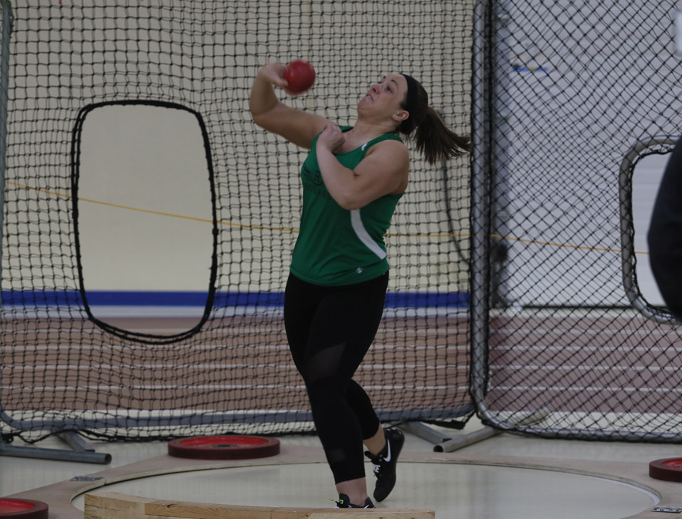 Lexie Rick throws the shotput 32 feet 8 inches, a personal record. She finished fourth in the event.